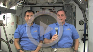 NAB Show attendees will be greeted with a welcome message from the Expedition 23 crew currently serving onboard the International Space Station. NASA astronaut Timothy J. Creamer and crewmate Soichi Noguchi sent greetings from the station, which is currently located approximately 220 miles above Earth. The NAB Show is the world's largest entertainment media technology conference and will run through April 15, 2010. Click the screenshot to view and download the video.